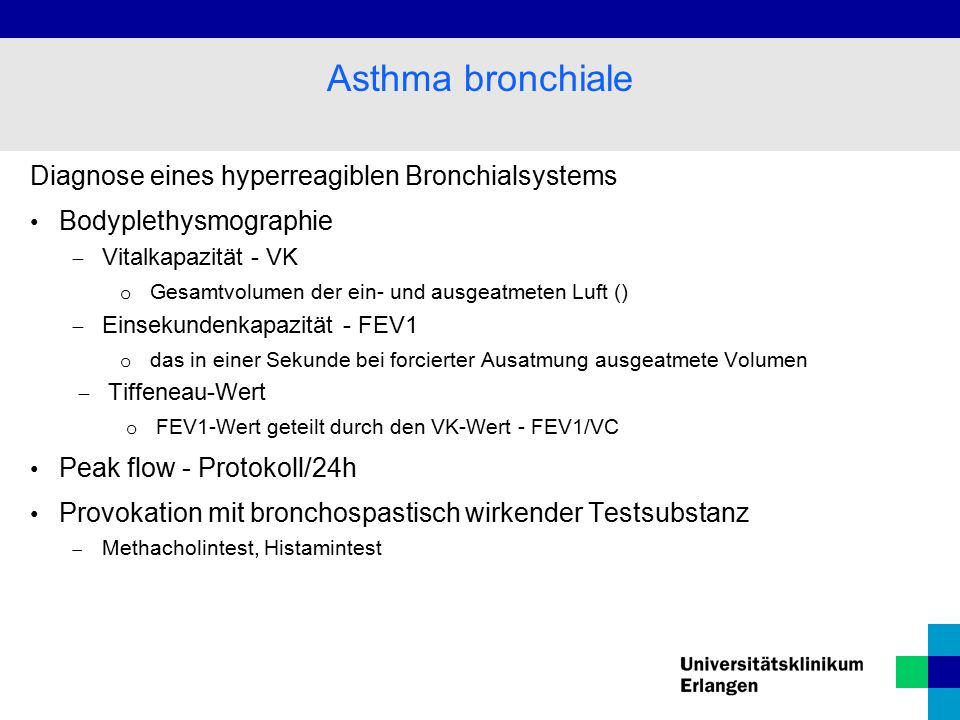 Asthma bronchiale Diagnose eines hyperreagiblen Bronchialsystems