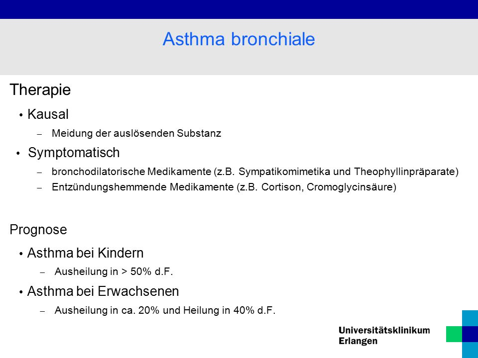 Asthma bronchiale Therapie Kausal Symptomatisch Prognose