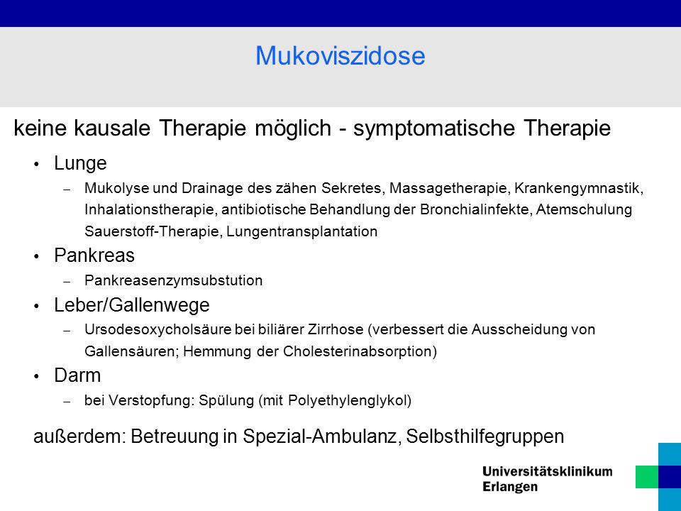 Mukoviszidose keine kausale Therapie möglich - symptomatische Therapie