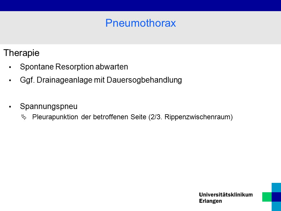 Pneumothorax Therapie Spontane Resorption abwarten