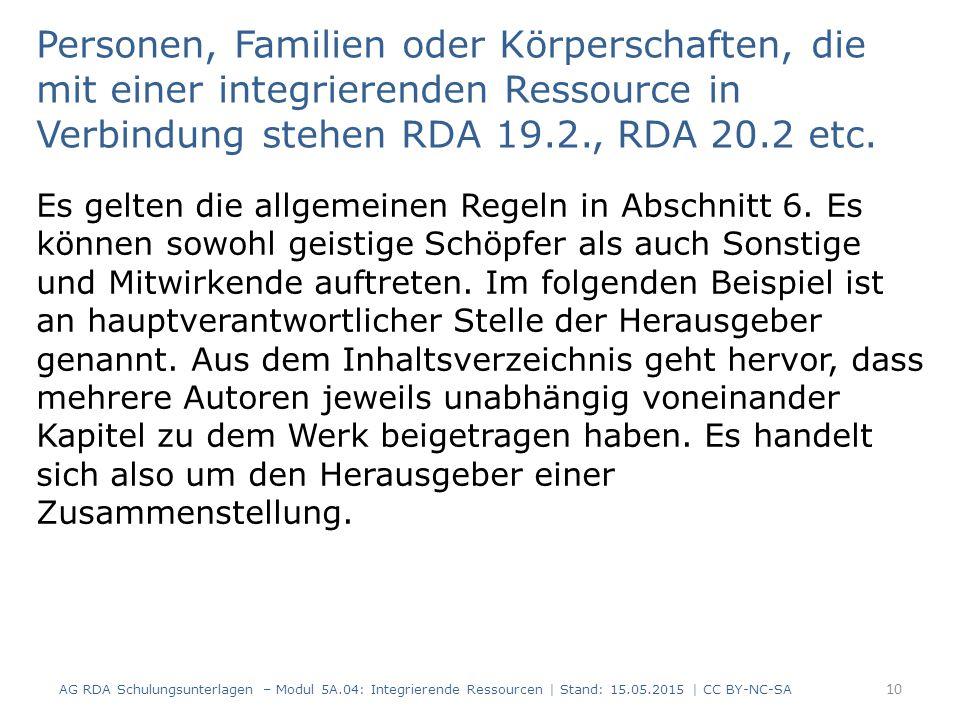 Personen, Familien oder Körperschaften, die mit einer integrierenden Ressource in Verbindung stehen RDA 19.2., RDA 20.2 etc.