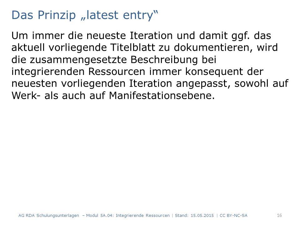 "Das Prinzip ""latest entry"