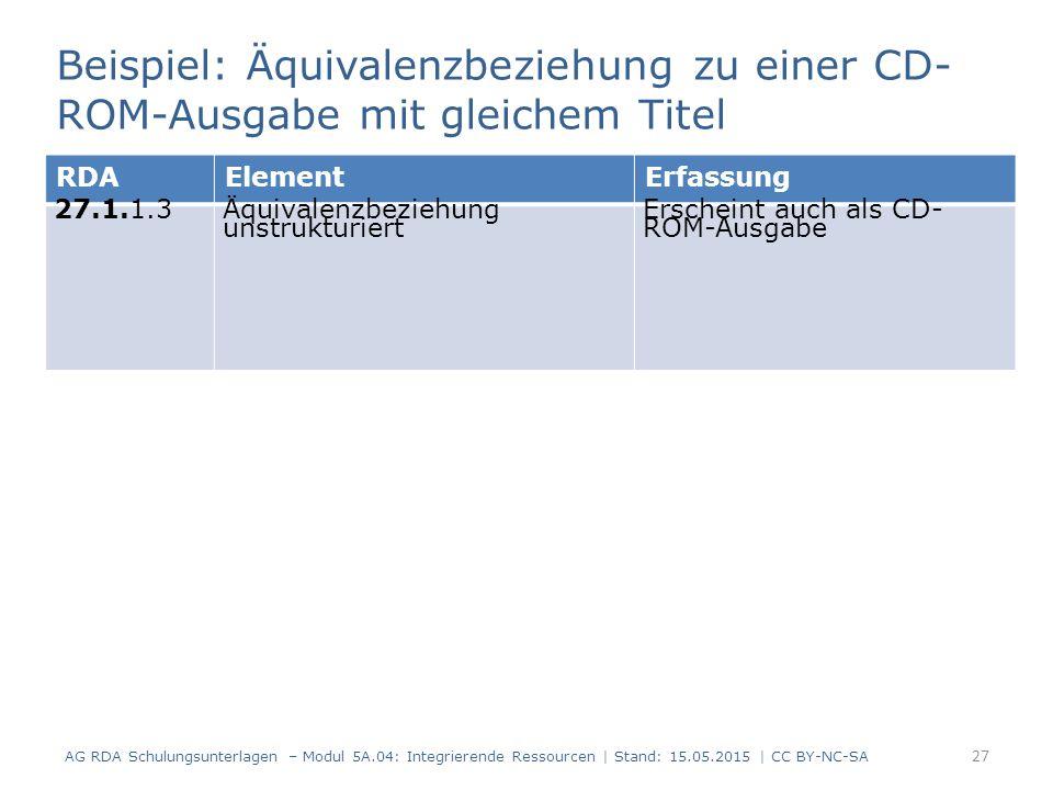 Beispiel: Äquivalenzbeziehung zu einer CD-ROM-Ausgabe mit gleichem Titel