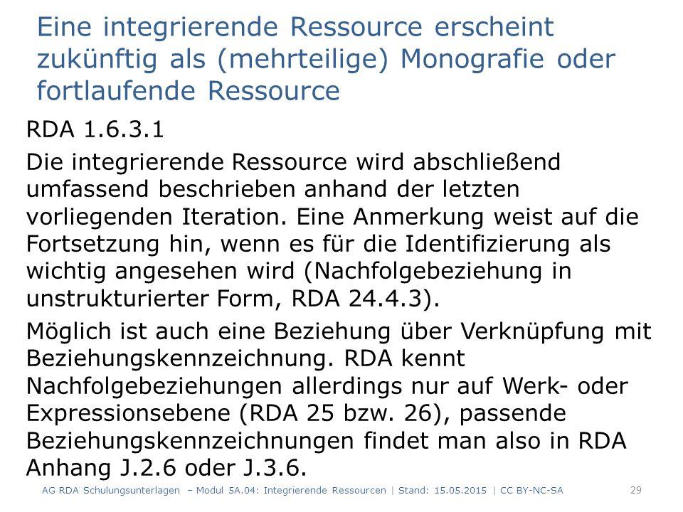 Eine integrierende Ressource erscheint zukünftig als (mehrteilige) Monografie oder fortlaufende Ressource