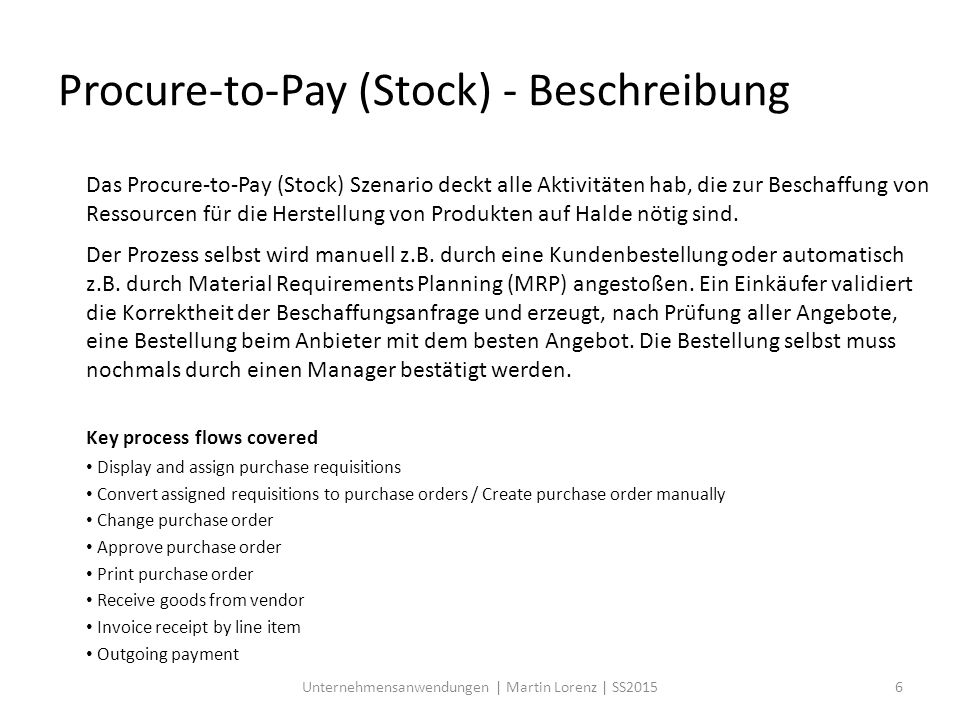 Procure-to-Pay (Stock) - Beschreibung