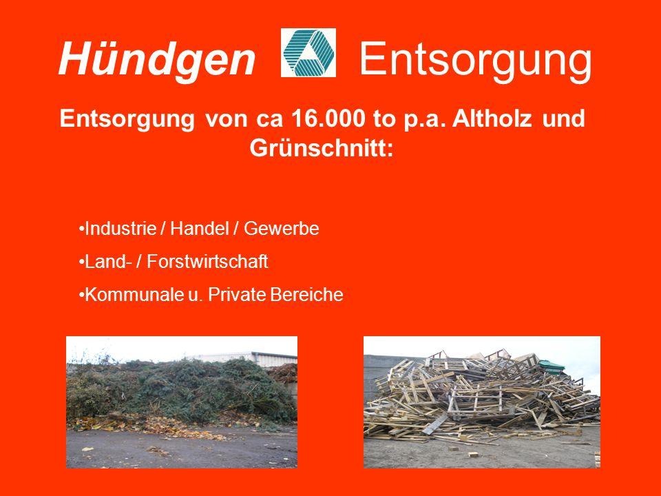 Entsorgung von ca 16.000 to p.a. Altholz und Grünschnitt: