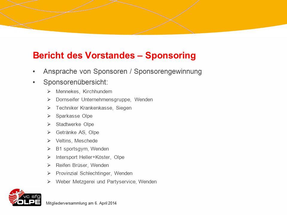Bericht des Vorstandes – Sponsoring