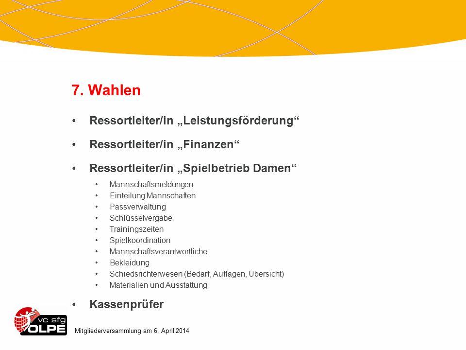 """7. Wahlen Ressortleiter/in """"Leistungsförderung"""