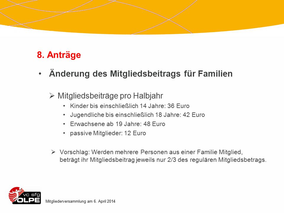 8. Anträge Änderung des Mitgliedsbeitrags für Familien