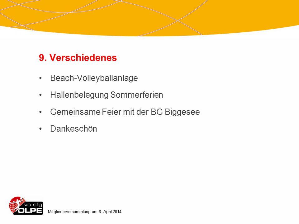 9. Verschiedenes Beach-Volleyballanlage Hallenbelegung Sommerferien