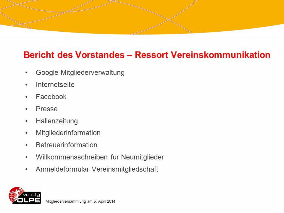 Bericht des Vorstandes – Ressort Vereinskommunikation