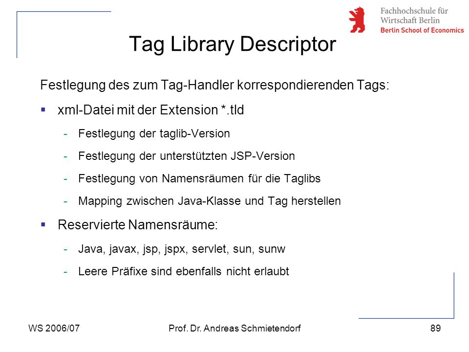 Tag Library Descriptor