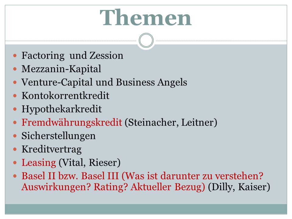 Themen Factoring und Zession Mezzanin-Kapital