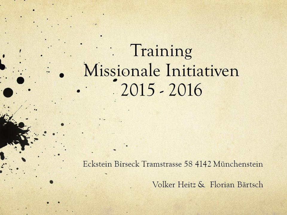 Training Missionale Initiativen 2015 - 2016