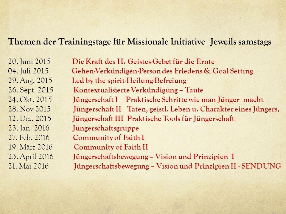 Themen der Trainingstage für Missionale Initiative Jeweils samstags 20