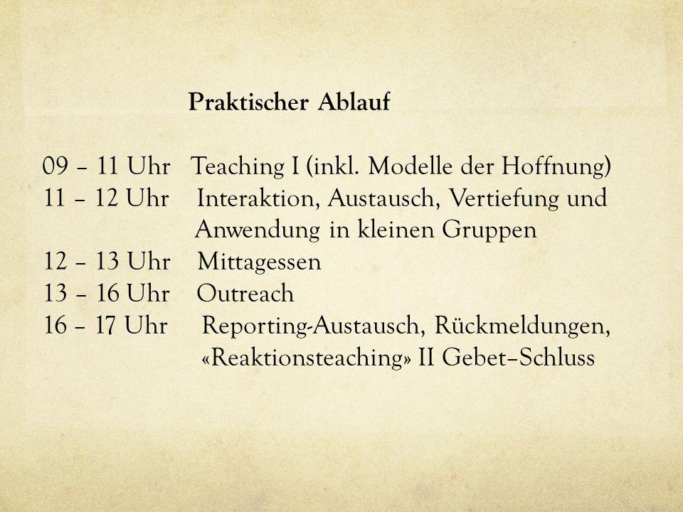 Praktischer Ablauf 09 – 11 Uhr Teaching I (inkl