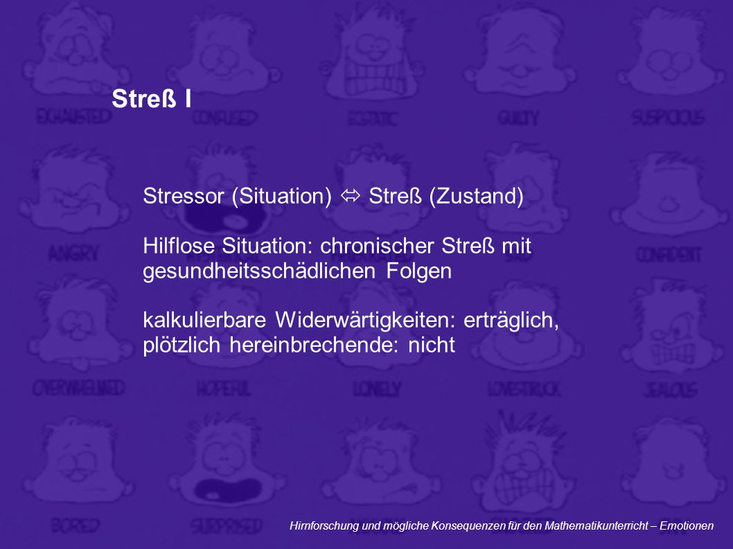 Streß I Stressor (Situation)  Streß (Zustand)