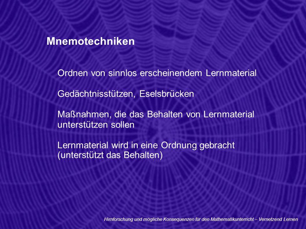 Mnemotechniken Ordnen von sinnlos erscheinendem Lernmaterial