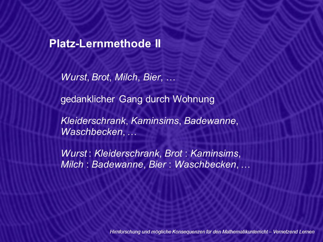 Platz-Lernmethode II Wurst, Brot, Milch, Bier, …