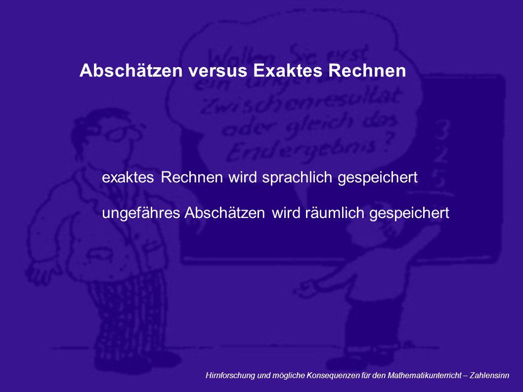 Abschätzen versus Exaktes Rechnen
