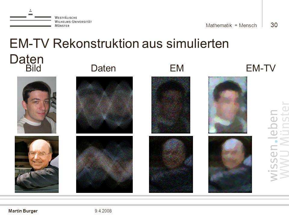 EM-TV Rekonstruktion aus simulierten Daten