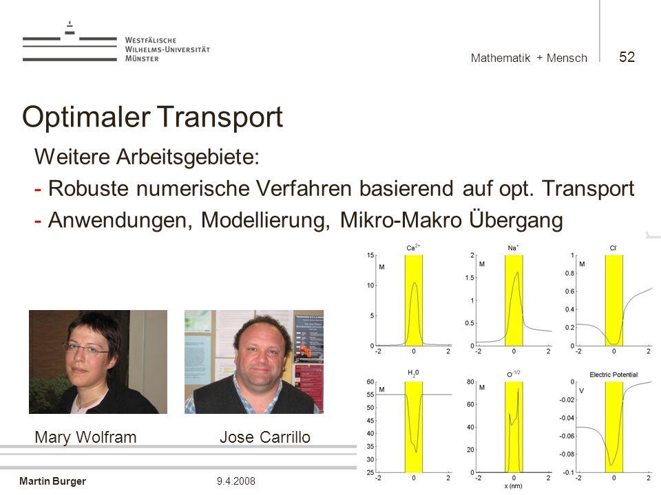 Optimaler Transport Weitere Arbeitsgebiete: