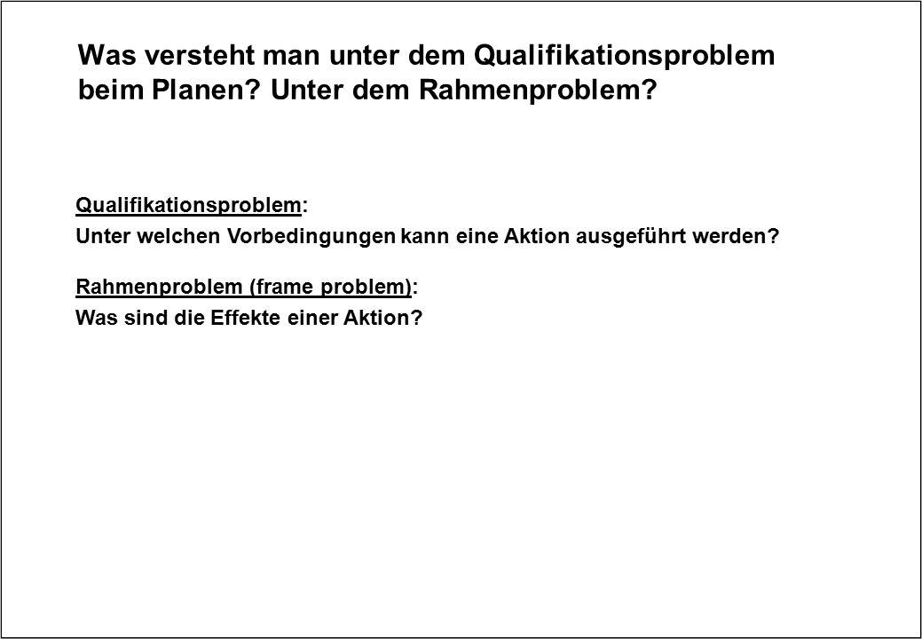 Was versteht man unter dem Qualifikationsproblem beim Planen