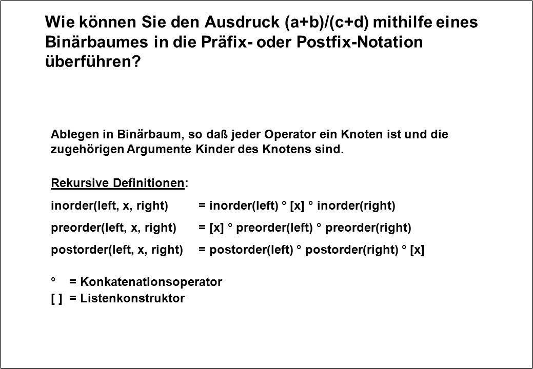 Wie können Sie den Ausdruck (a+b)/(c+d) mithilfe eines Binärbaumes in die Präfix- oder Postfix-Notation überführen