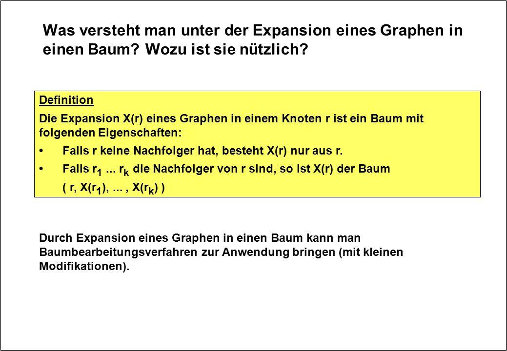 Was versteht man unter der Expansion eines Graphen in einen Baum