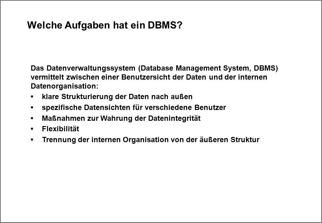 Welche Aufgaben hat ein DBMS