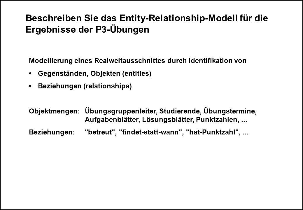 Beschreiben Sie das Entity-Relationship-Modell für die Ergebnisse der P3-Übungen