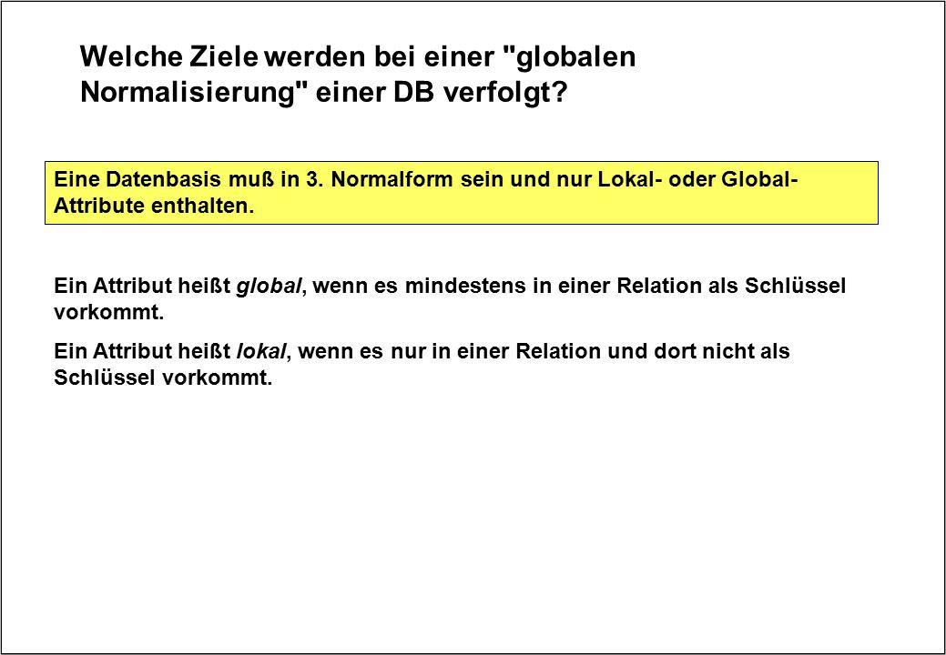 Welche Ziele werden bei einer globalen Normalisierung einer DB verfolgt