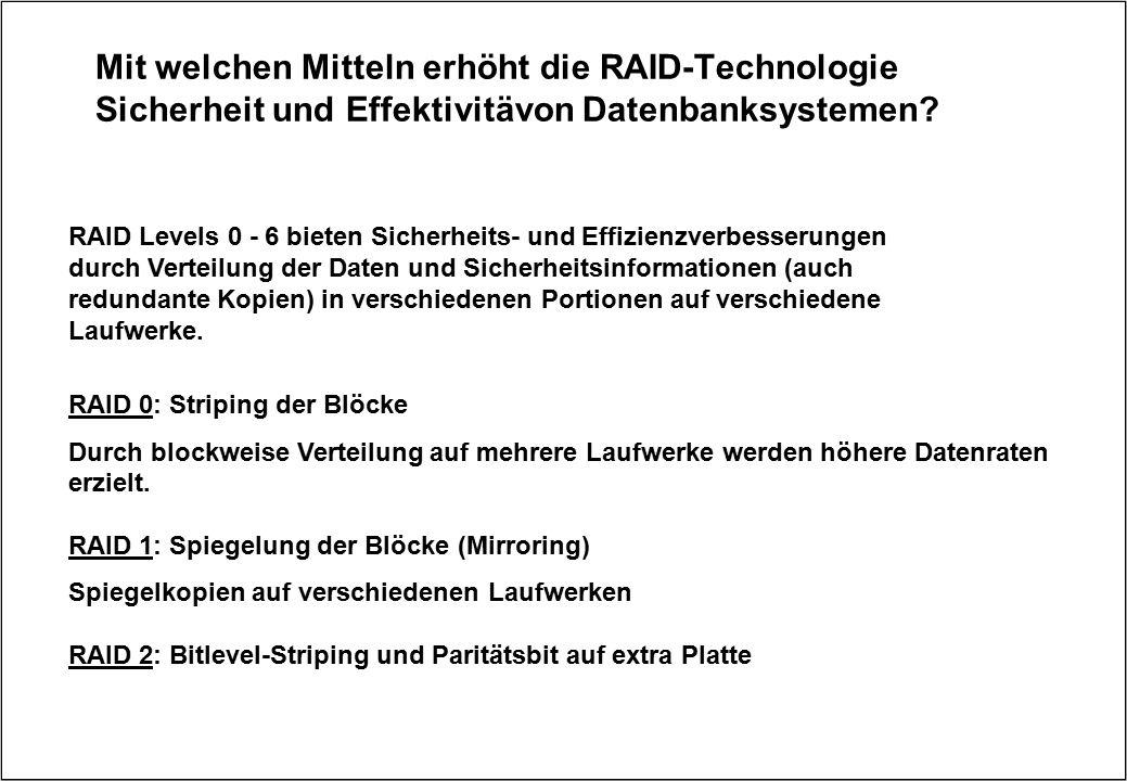 Mit welchen Mitteln erhöht die RAID-Technologie Sicherheit und Effektivitävon Datenbanksystemen