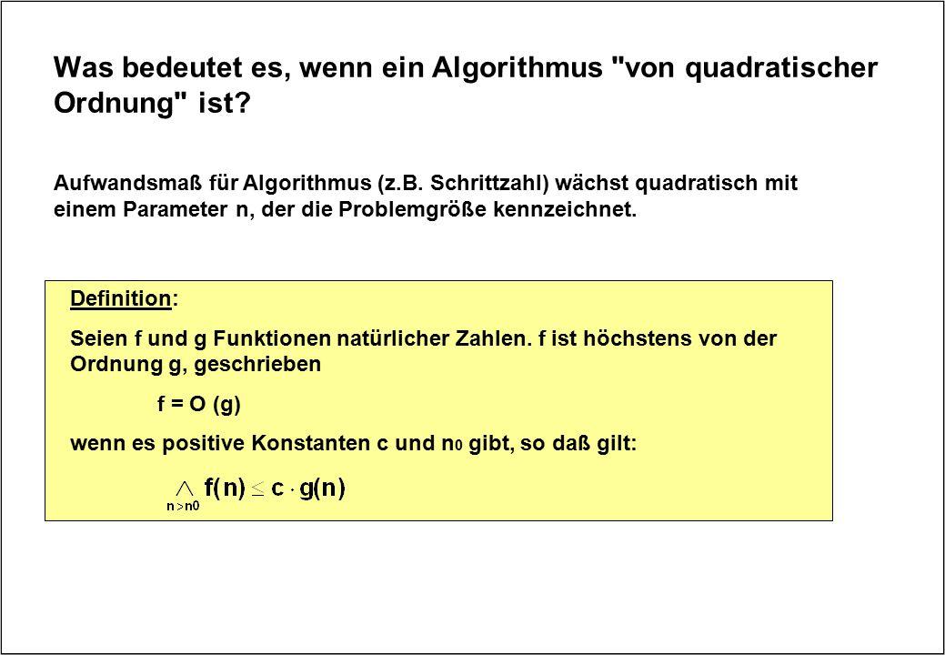 Was bedeutet es, wenn ein Algorithmus von quadratischer Ordnung ist