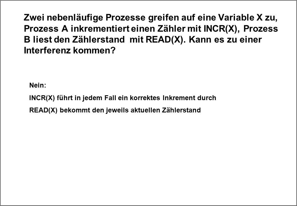 Zwei nebenläufige Prozesse greifen auf eine Variable X zu, Prozess A inkrementiert einen Zähler mit INCR(X), Prozess B liest den Zählerstand mit READ(X). Kann es zu einer Interferenz kommen