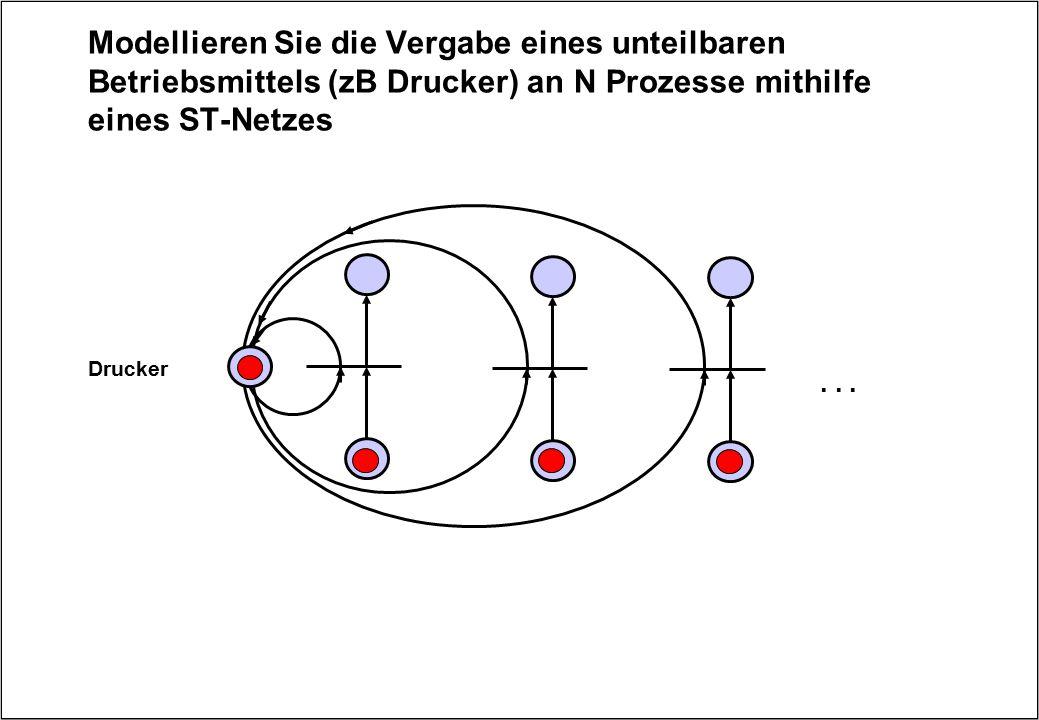 Modellieren Sie die Vergabe eines unteilbaren Betriebsmittels (zB Drucker) an N Prozesse mithilfe eines ST-Netzes