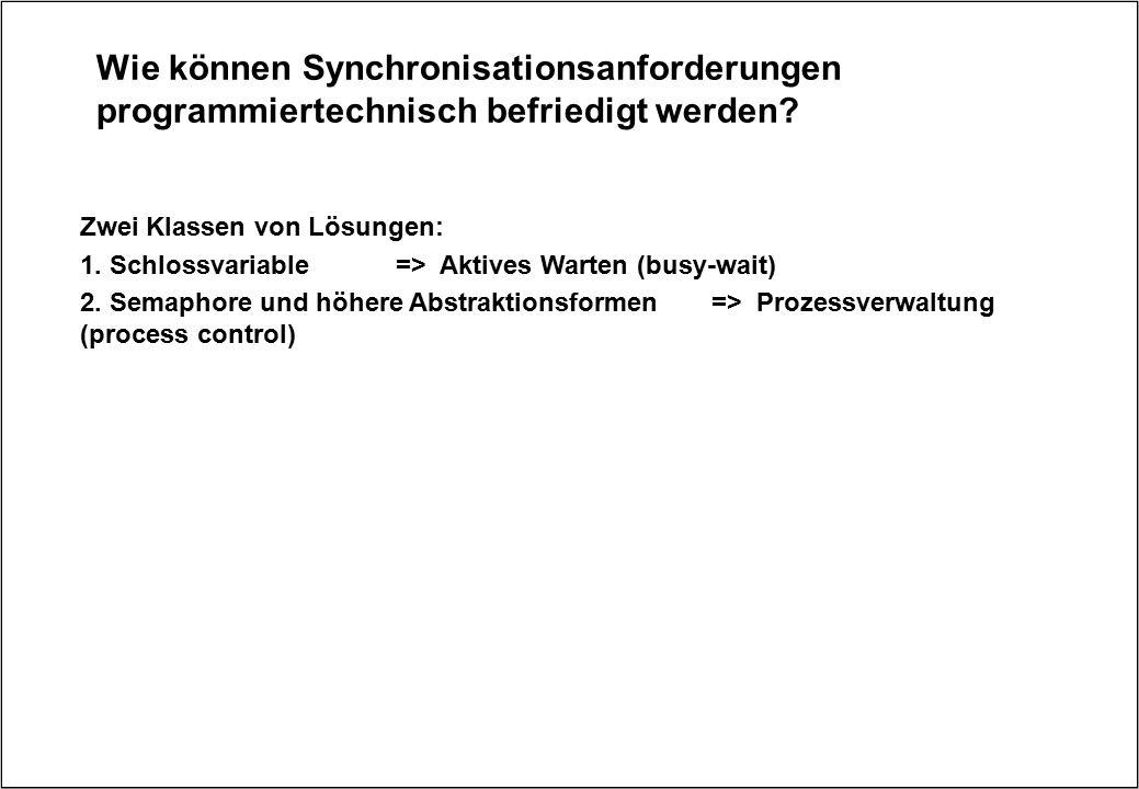 Wie können Synchronisationsanforderungen programmiertechnisch befriedigt werden