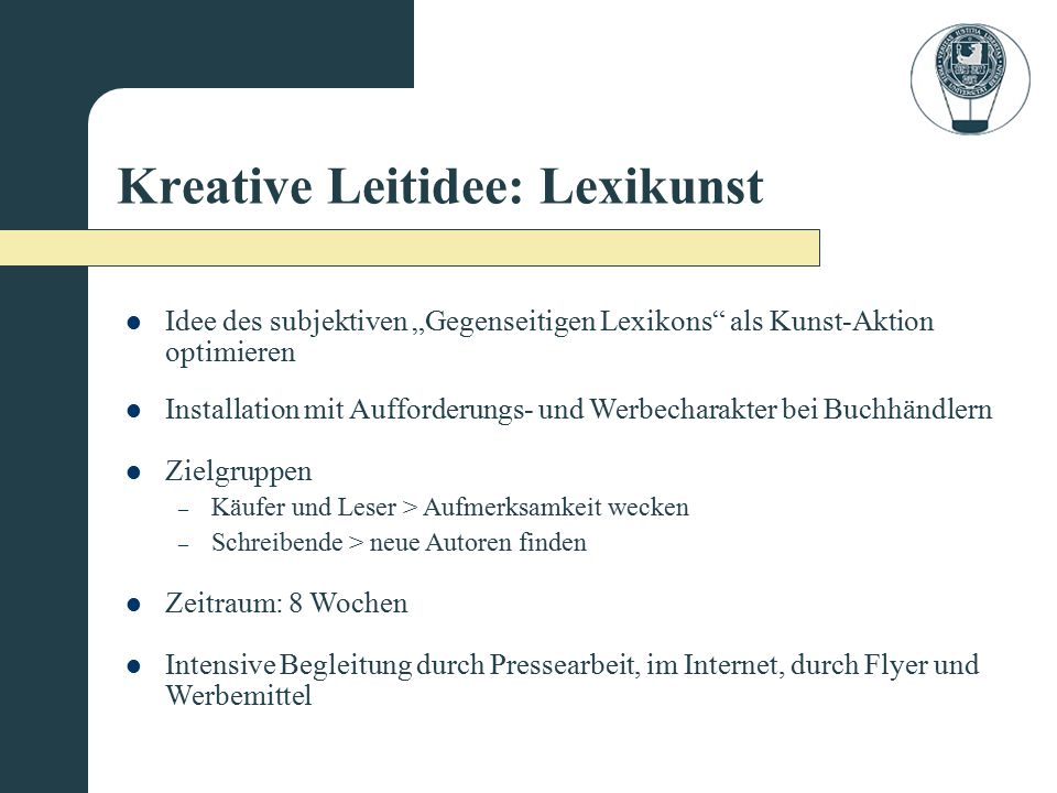 Kreative Leitidee: Lexikunst