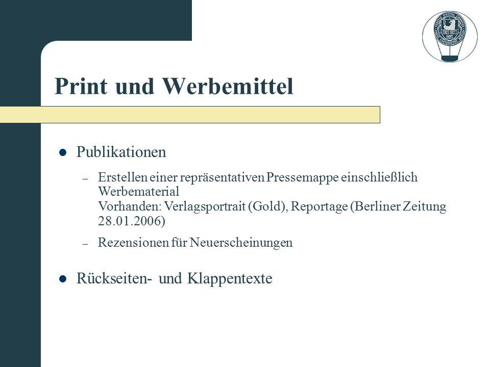 Print und Werbemittel Publikationen Rückseiten- und Klappentexte