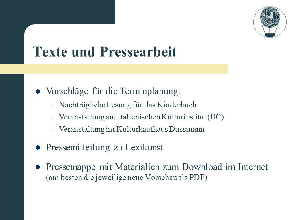 Texte und Pressearbeit