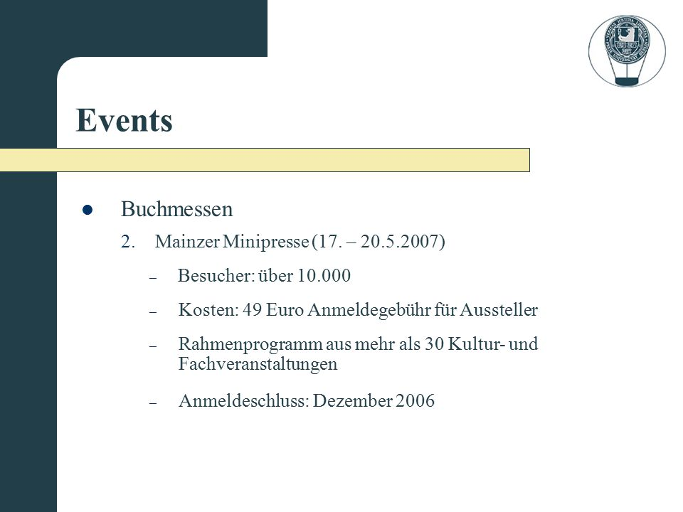 Events Buchmessen Mainzer Minipresse (17. – 20.5.2007)