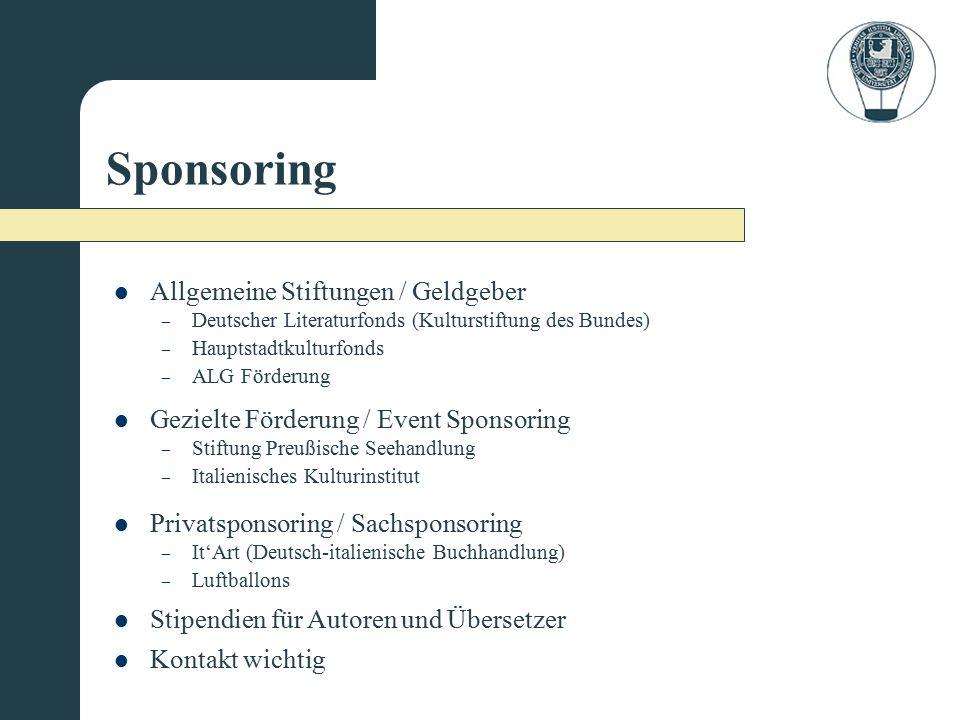 Sponsoring Allgemeine Stiftungen / Geldgeber