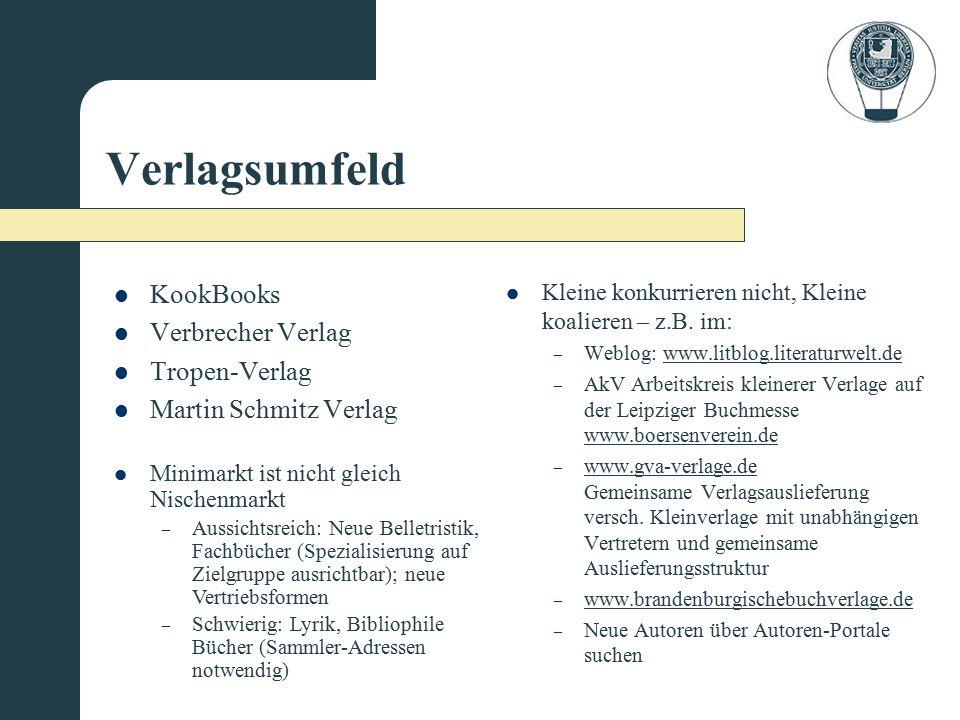 Verlagsumfeld KookBooks Verbrecher Verlag Tropen-Verlag