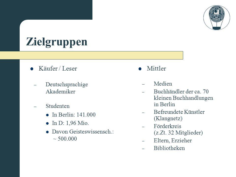 Zielgruppen Käufer / Leser Mittler Deutschsprachige Akademiker Medien