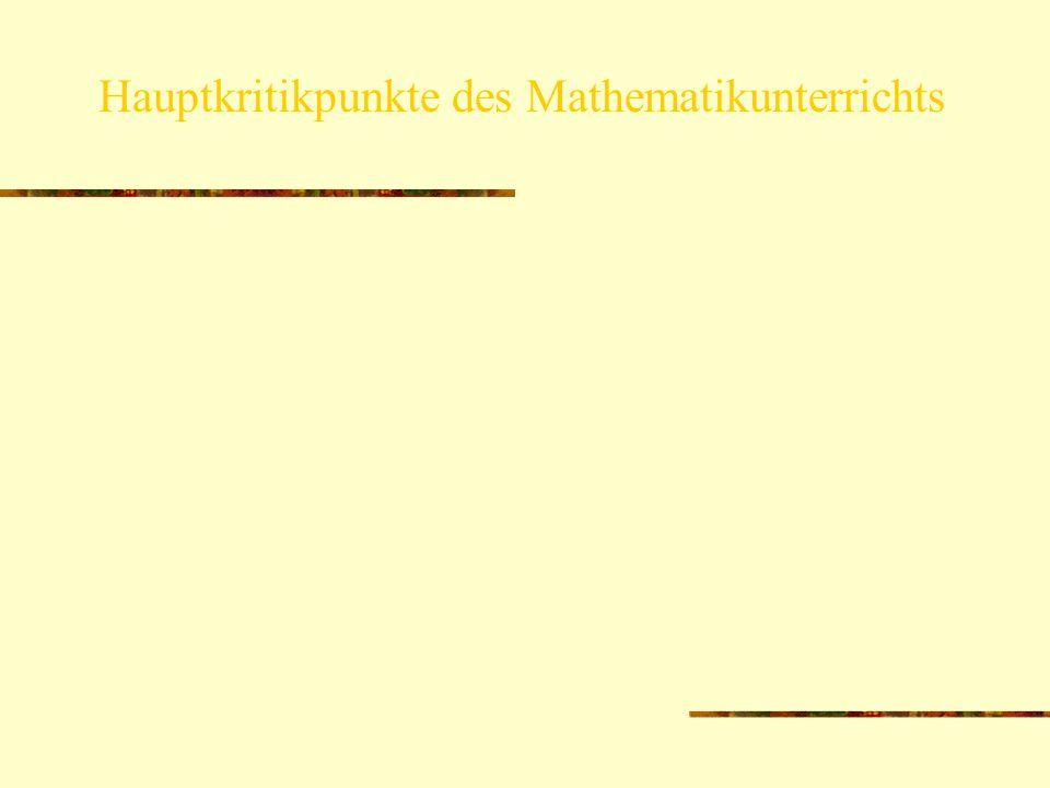 Hauptkritikpunkte des Mathematikunterrichts