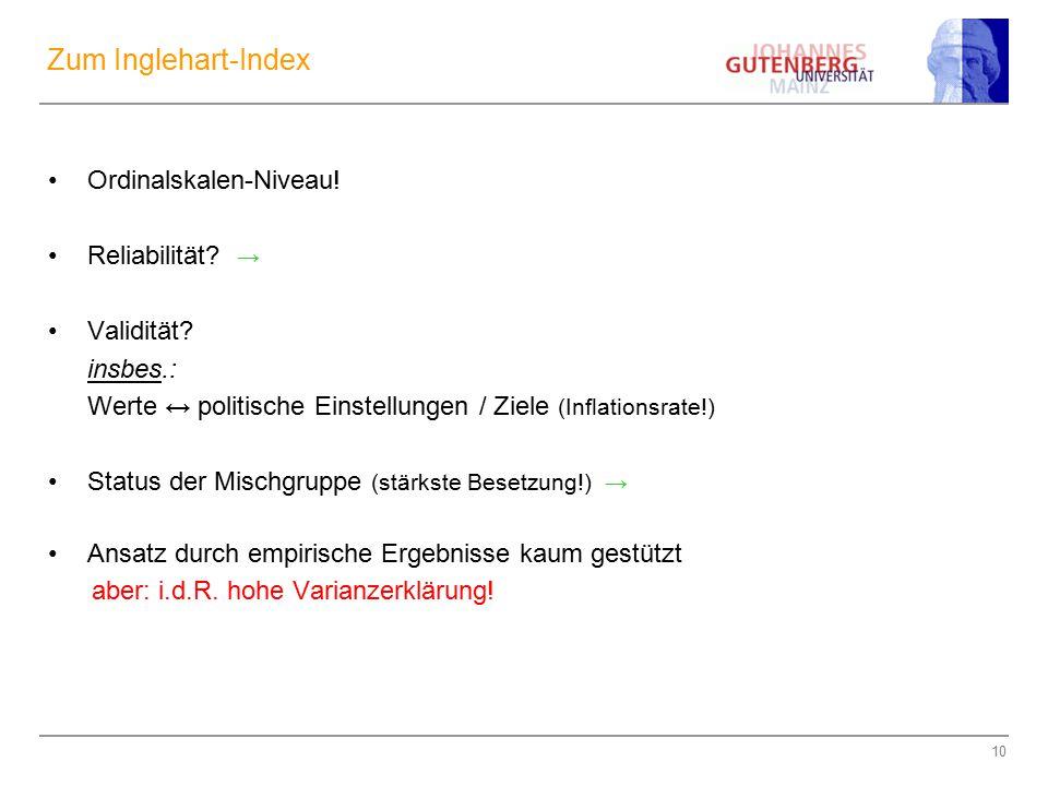 Zum Inglehart-Index Ordinalskalen-Niveau! Reliabilität → Validität
