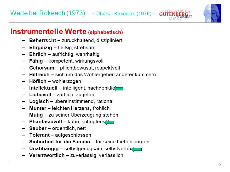 Werte bei Rokeach (1973) – Übers.: Kmieciak (1976) –