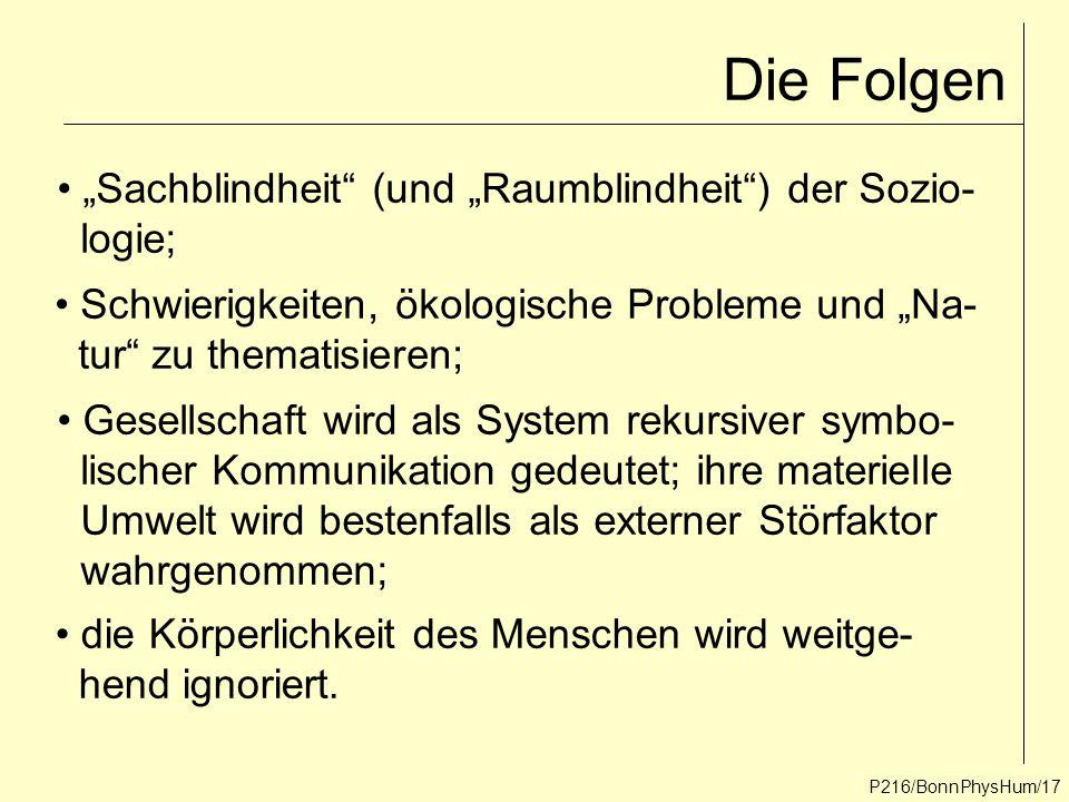 """Die Folgen """"Sachblindheit (und """"Raumblindheit ) der Sozio- logie;"""