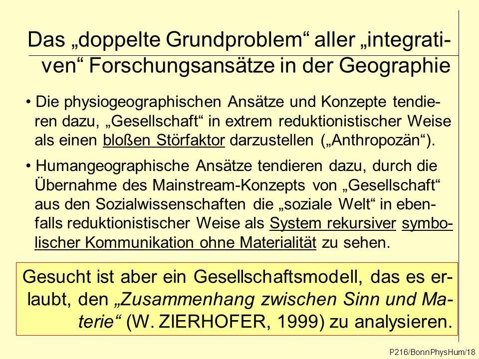 """Das """"doppelte Grundproblem aller """"integrati- ven Forschungsansätze in der Geographie"""