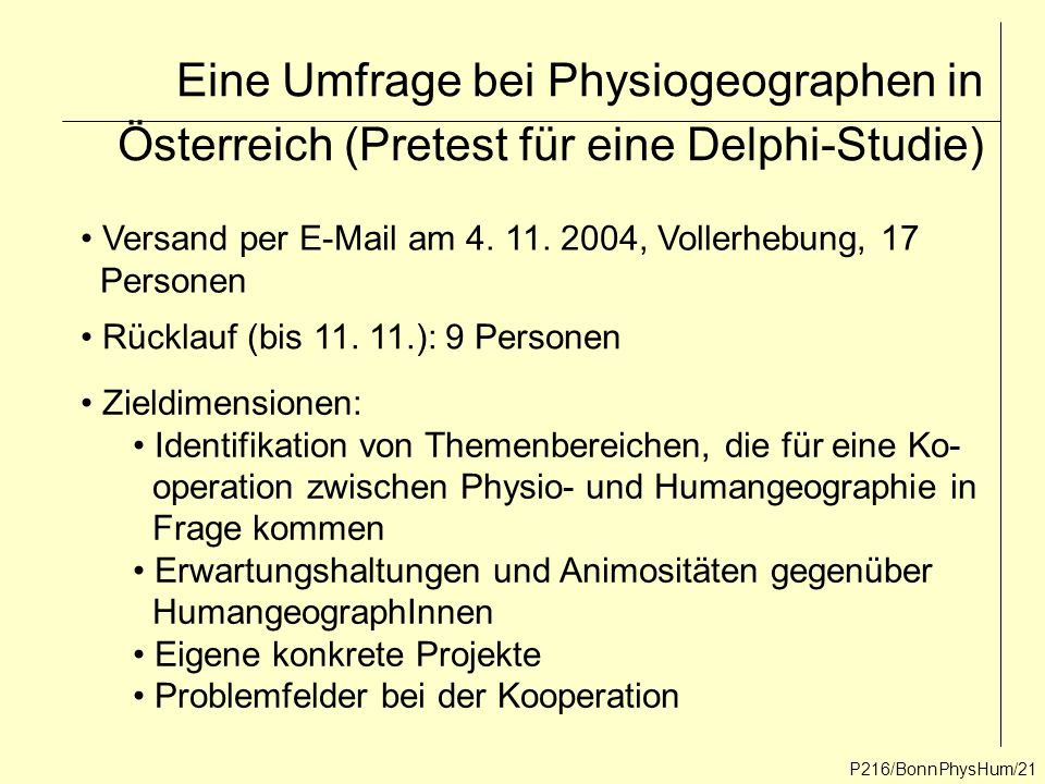 Eine Umfrage bei Physiogeographen in Österreich (Pretest für eine Delphi-Studie)